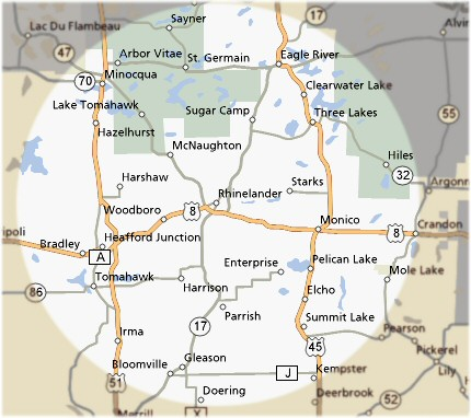 Theilman Home Improvements LLC's Service Northwoods Area Map